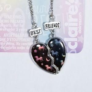 Claire's BFF black heart unicorn, moon, stars set